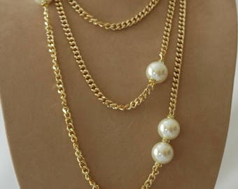 Layered Necklace, Gold and pearl necklace, Gift for her, Everyday use, Chain and pearl necklace, Birthday gift