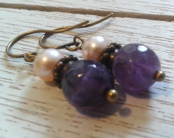 Amethyst and Pink Pearl Earrings/Handmade/Antique Look/Special Occasion/Gift It