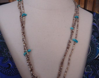 "Vintage Southwestern 3-Strand Sterling Silver Turquoise Nugget and Shell Heishi Necklace, 25"" Long"
