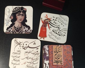 Hand printed coasters in California,Persian calligraphy