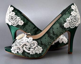 Lace Wedding Shoes, Vintage Wedding Lace,Women's Bridal Shoes, Women's Shoes Women's Peep Toe Shoes Wedding Shoes Pink2Blue Shoes PBT-0384