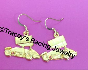 Winged sprint car earrings gold tone Traceys Racing Jewelry exclusive