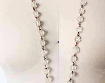 1960s Vintage Glass Bead + Copper Necklace