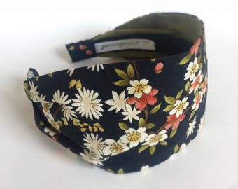 Spring headbands hair accessories Japanese sakura fabric headband for women and girls navy blue cherry blossom flowers hairband for woman