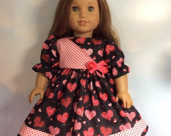 """Glittering valentine hearts dress fits 18"""" American girl dolls and dolls similar to size"""