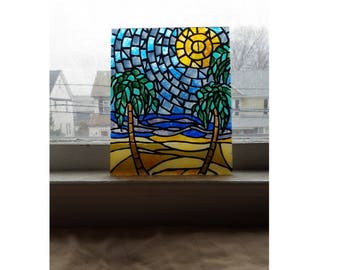 Hand painted beach stained glass