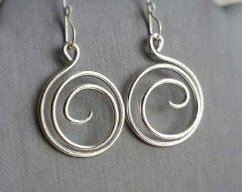 Silver Spiral Dangle Earrings - Sterling Silver Swirl - Spiral Dangling Earrings - Elegant Spiral