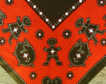 Rare Swedish retro vintage 1960s larger printed cotton Christmas design tabelcloth with gingerbread motives on red bottomcolor