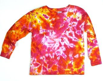 Toddler Long Sleeve Tie Dye Shirt / Pink Sunshine Design / Eco-friendly
