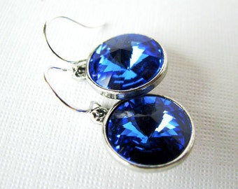 Sapphire Luxury - Swarovski Rivoli Rhinestone Drop Earrings in Sapphire Blue - Something Blue in Silver Plated Settings