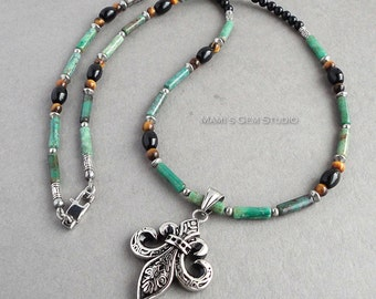 Mens Green Gemstone Necklace 24in, Fleur De Lis Stainless Steel Pendant, Verdite, Black Onyx, Tiger Eye, Handmade