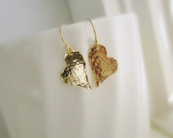 Heart earrings simple hammered gold earrings Valentines Day heart jewelry Girlfriend gift Wife gift two hearts dangle bridesmaid earrings