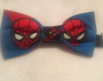 """Kids Spider-man bow tie, marvel comics bow tie, pre-tied with adjustable strap up to 15"""""""