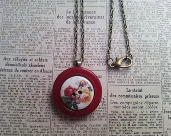 """Rose roses layered handmade button necklace on a 18"""" chain"""