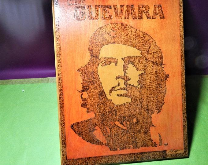 Che Guevara Face Silhouette,hand paint Che on wood,che portrait,che,hasta la victoria sempre,Che artwork,handpaint ernesto