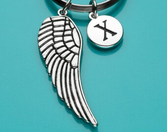 Angel Wing Keychain, Angel Wing Key Ring, Large Wing Charm, Initial Keychain, Personalized Keychain, Custom Keychain, Charm Keychain, 669