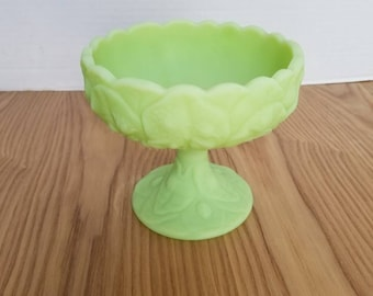 Fenton Art Glass, Fenton Custard Green Compote, Fenton Lily Pad, Water Lily, Stamped, Vintage Green Custard Glass, Fenton Compote, 1970s