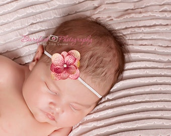 baby girl headband on skinny white elastic, Newborn Headband, Baby Headband, rose pink Small FLower Headband