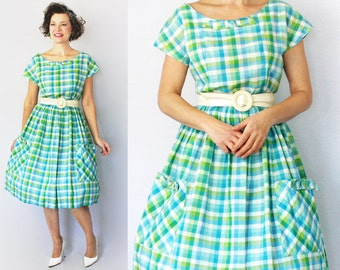 50s Day Dress / 1950s Dress / 50s Dress / 1950s Day Dress / Plaid Dress / Spring Dress / Day Dress / Full Skirt Dress / Summer / Waist 29""
