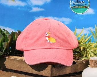 Sitting Corgi Embroidered Baseball Hat, Corgi Dad Hat, Corgi Gifts, Animal Embroidery Hat, Dad Cap, Gift For him, Gift For Her