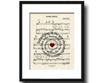 Something Song Lyric Sheet Music Art Print, Spiral Song Lyric Art, Custom Wedding Gift, Custom Anniversary Gift, First Dance, Name & Date