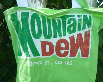 Mountain Dew Tee Shirt Tote Bag Green Eco Friendly Reuseable Cotton Shopping Book  Recycle