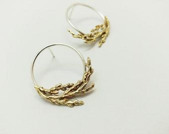 Juniper Branch earrings, Sterling silver and bronze studs, Cedar branch studs, Woodland Jewelry, Minimalist Nature earrings, Handmade