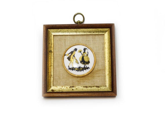 Vintage B and S Creations Framed Porcelain Cameo, Black and Gold ...