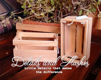 PACK OF THREE Long wooden crate for rustic centerpiece and decoration, wood box weddings and baby shower, party outdoor, home decor supplies