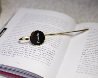 Personalized bookmark, engraved gold bookmark, engraved metal bookmark