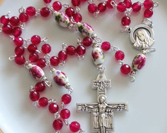Catholic Rosary, Dark Red Rosary, Modern, Traditional Five Decade, Bridesmaid Gift, Gift for Her, Wife Gift, Gift for Mom, Birthday Gift