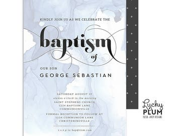 Boy Baptism Invitation / Baptism Invitation / Boy Christening Invitation / Boy First Communion Invitation / Watercolor / Blue / Ocean