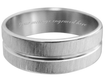 Men's engraved personalised ring size L M N O P Q R S T U V W + gift box -ref TL