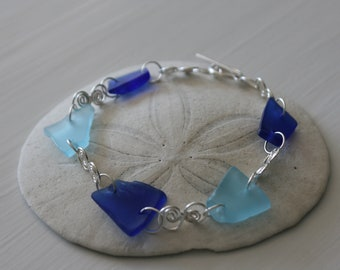 Cobalt Blue Recycled Glass & Sterling Silver Bracelet