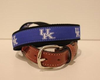 University of Kentucky Men's  Web Leather Belt
