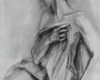 Figure Drawing in Black and White of Woman Holding Drapery.  Fine Art Print