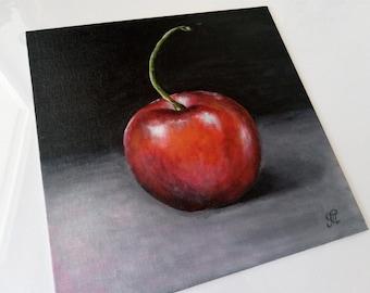 Cherry painting, Fruit painting, original painting, acrylic on cardboard canvas 25x25 cm, kitchen wall art decor, fine art.