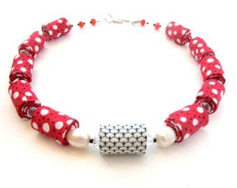 Red polka dot fiber necklace, smile fiber necklace, beaded pearls and fiber necklace