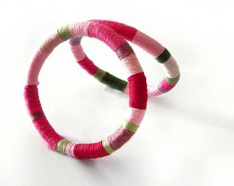 pink bangle bracelet thread wrapped -pink summer bracelet set of 2 - rope jewelry tribal boho bracelet