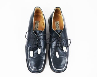 Vintage Laura Ashley Navy Blue Leather Lace Up Oxfords with Leather Tassel Details size 6.5 US Womens or 37 EURO