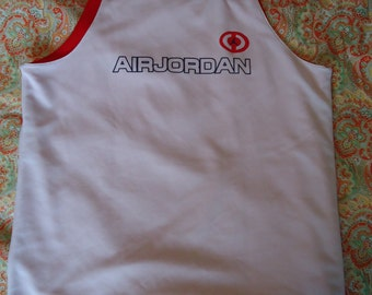 Retro Air Jordan reversible basketball jersey - white and red - like new condition