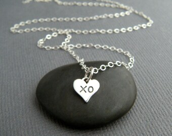 tiny silver XO heart necklace sterling hugs kisses love charm dainty delicate petite small simple romantic pendant everyday jewelry gift 1/4