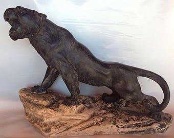 Sculpture Panther has patina matte black shoe Polish-antique Art deco 42cm
