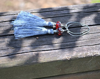 Gray Silk Tassel Earrings with Red Czech Glass Beads and Oxidized Silver Hoops