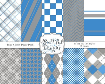 Sports Team Colors Digital Paper Pack Blue and Gray
