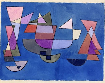 ORIGINAL design, durable and WASHABLE PLACEMAT - PaulKlee - sail boats - classic.