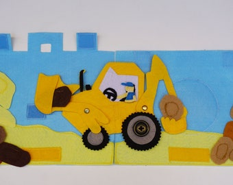 Backhoe Loader / Shovel / Travel Toy for Toddlers / Gift for Kid / Travel Toy / Unique Gift / On the Go / Educational Toy / Birthday Gift /