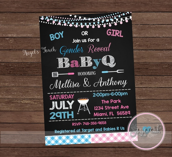 BBQ Gender Reveal Party Invitation Picnic Gender Reveal