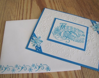 Turquoise Merry Christmas Handmade Greeting Card