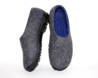 Long Distance Family Wool Slippers Adult, Gift For Womens Moccasins Woolen, Travel Shoes Men, Boiled Wool Slippers Warm Indoor Slippers Blue